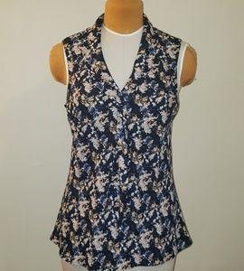 Tahari Floral Sleeveless Work Shirt
